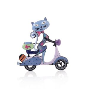 Cute Cycling Cat Brooch Accessories