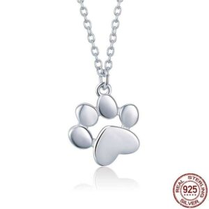 Cute Silver Paw Print necklace Accessories
