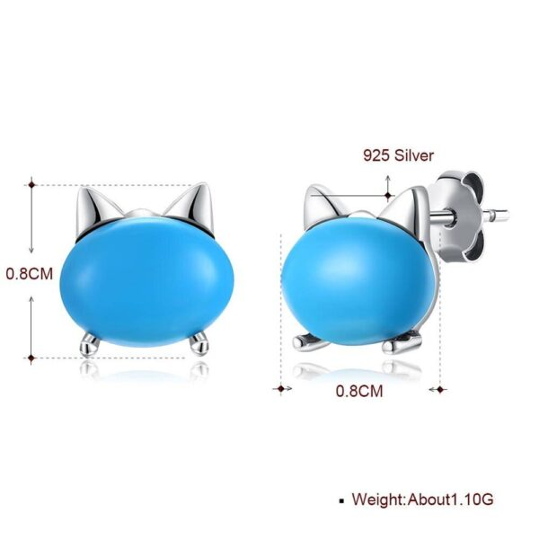 Turquoise Cat Stud Earrings Accessories
